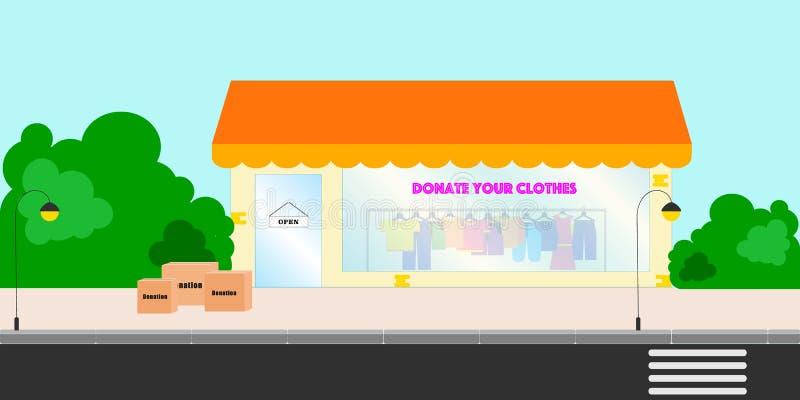 Witryny sklepowej okno z darującymi kolorowymi ubraniami na ramionach Ulica z drzewami, sklep z darujemy i odziewamy ilustracji