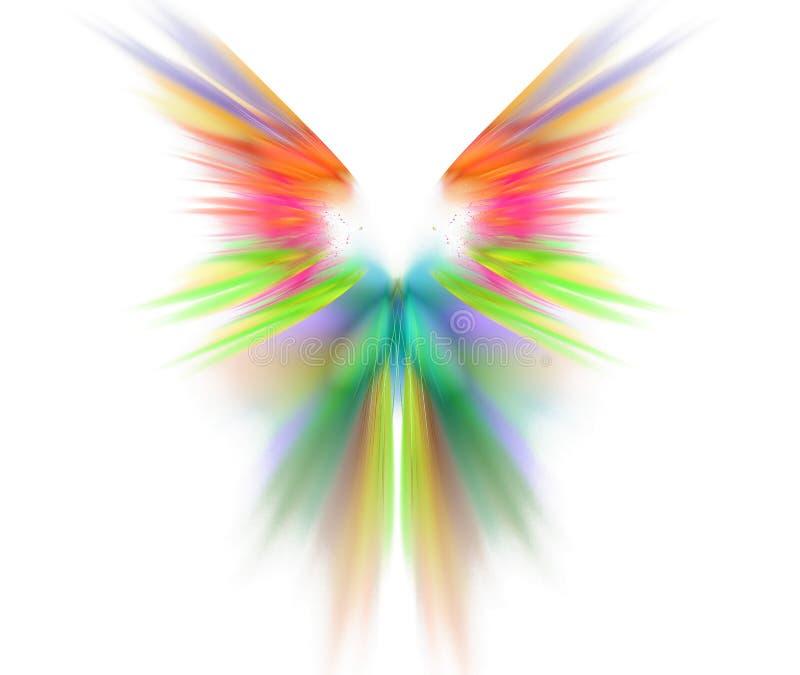 Witte abstracte achtergrond met vleugelstextuur Regenboogsymmetrica stock illustratie