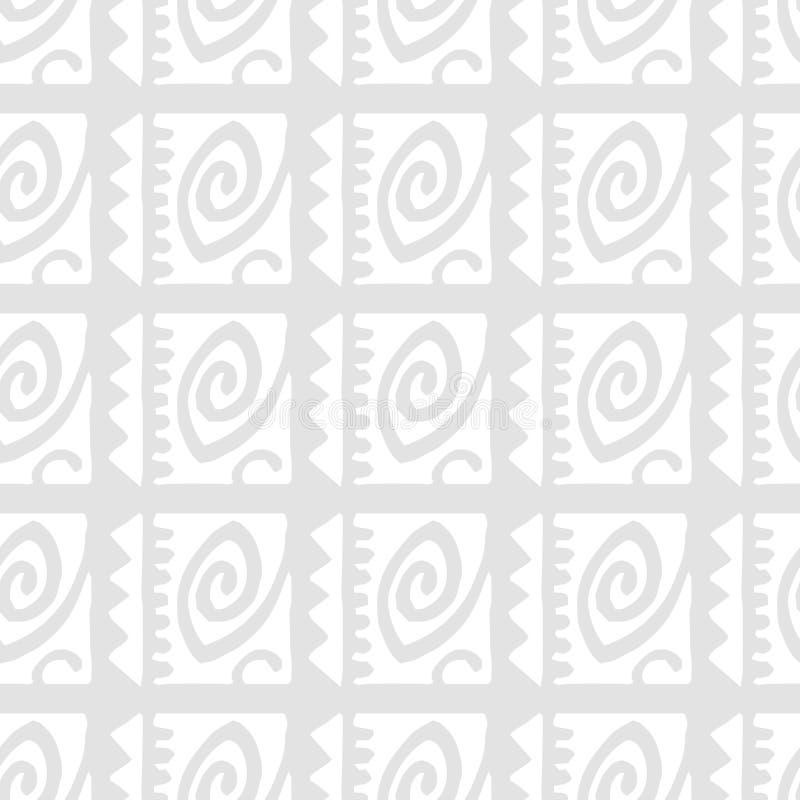 Witte Abstracte grijze zwart-wit Etnische naadloze patronen op grijze achtergrond vector illustratie