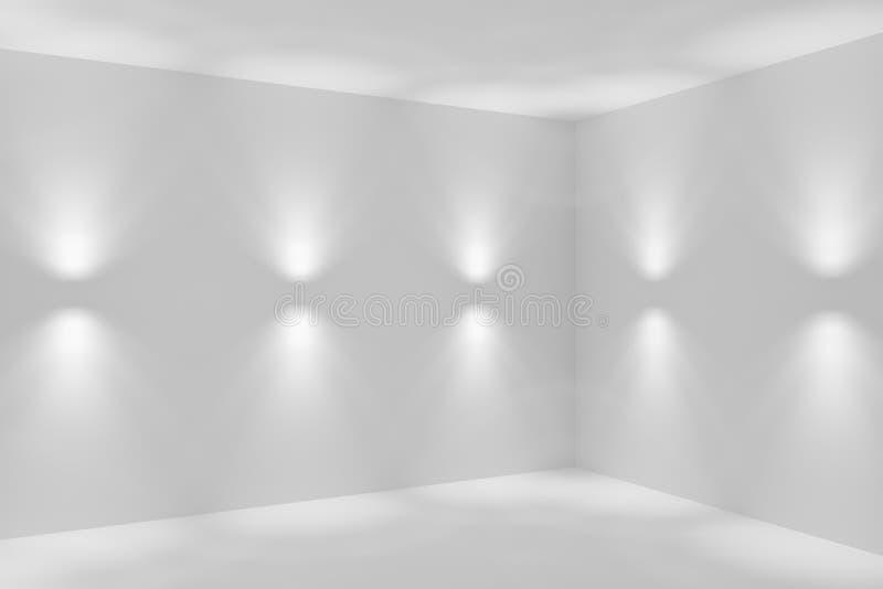 Witte abstracte ruimtehoek met de schijnwerpers van de muurlamp vector illustratie