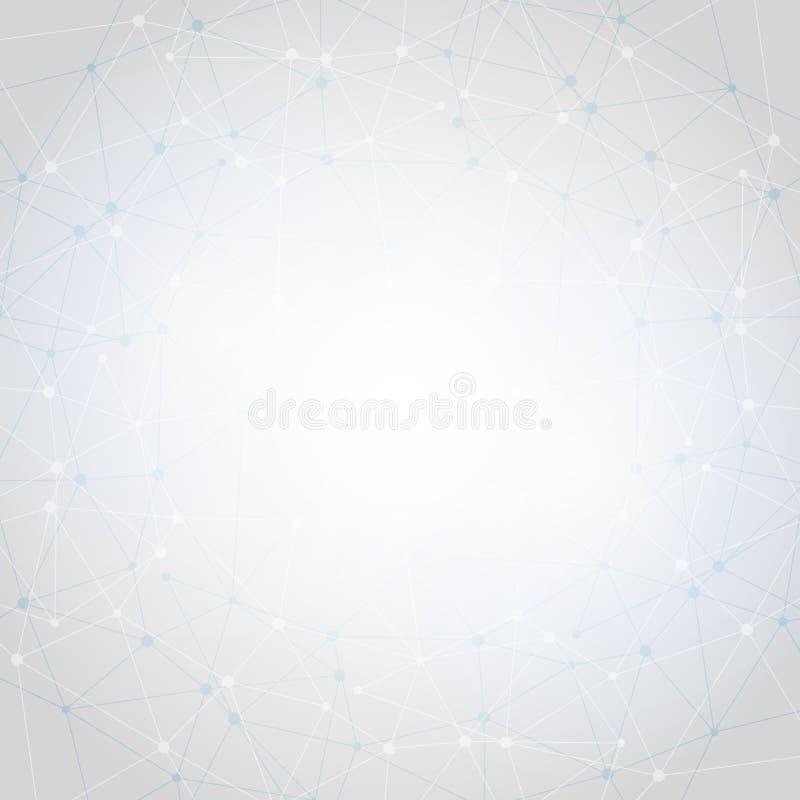 Witte Abstracte veelhoekige ruimte lage polyachtergrond met lijnen royalty-vrije illustratie