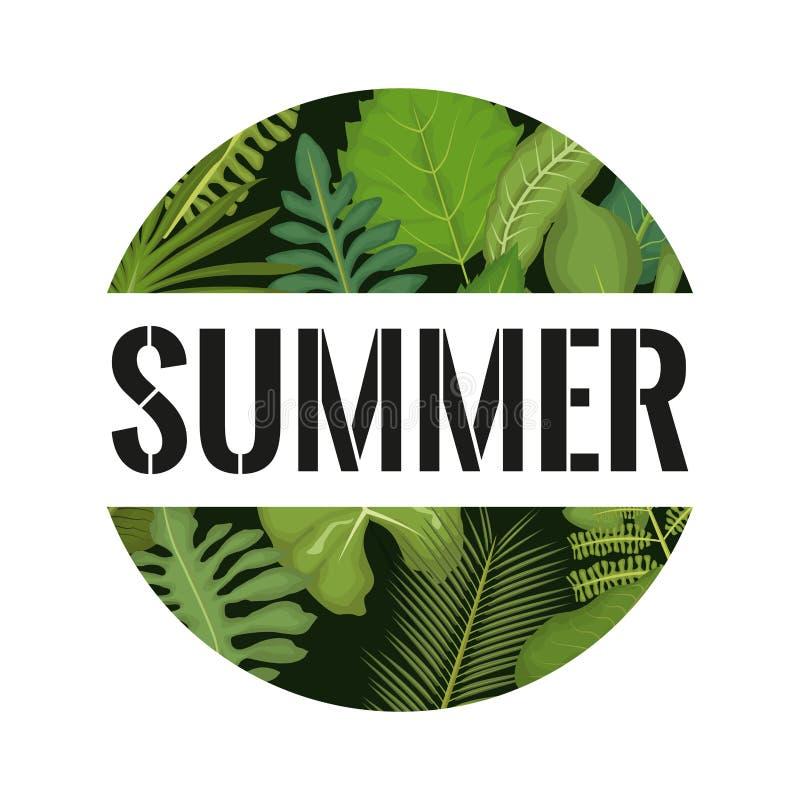 Witte achtergrond met cirkelkader met decoratieve groene bladeren binnen en de zomertekst royalty-vrije illustratie