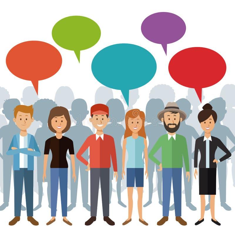 Witte achtergrond met de volledige mensen die van de lichaamsgroep zich met dialoogdoos en schaduw erachter bevinden van personen vector illustratie