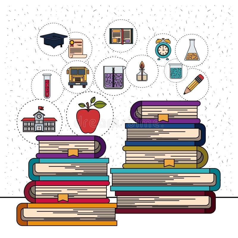 Witte achtergrond met fonkelingen van stapel boeken met de pictogrammen van het onderwijselement royalty-vrije illustratie