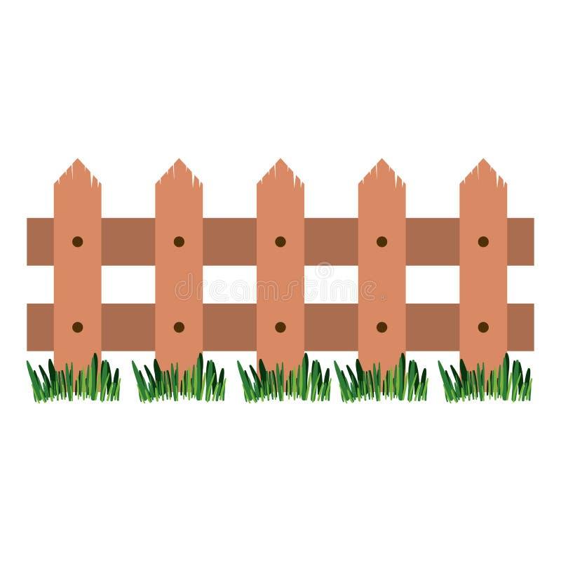 Witte achtergrond met houten omheining en weide vector illustratie