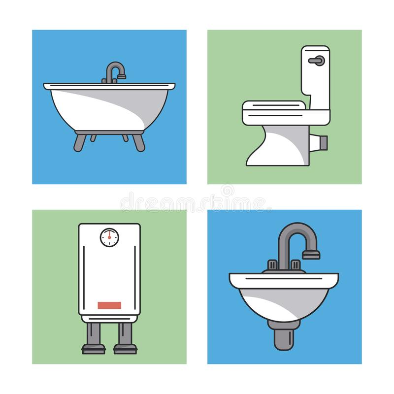 Witte achtergrond met kaders van badkamerselementen zoals gootstenen en waterverwarmer en toilet en badkuip stock illustratie