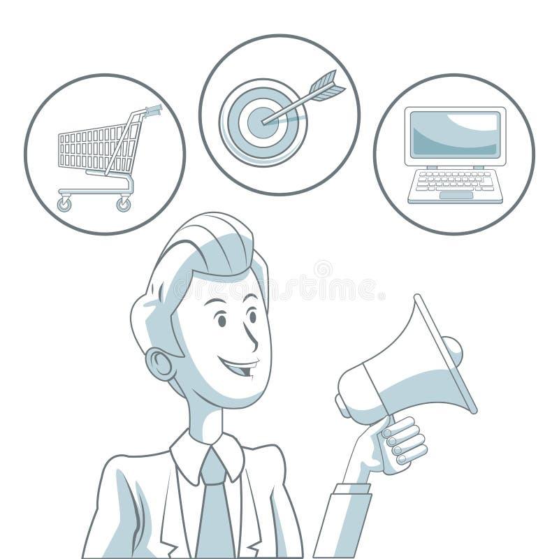 Witte achtergrond met kleurensecties van de megafoon van de zakenmanholding en bellenpictogrammen digitale marketing vector illustratie