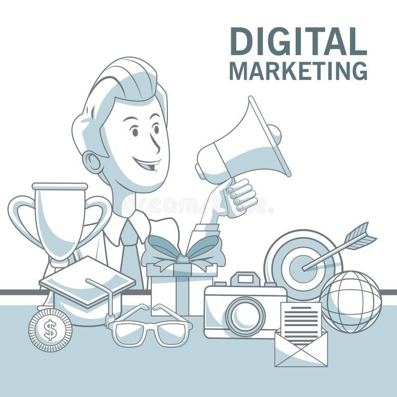 Witte achtergrond met kleurensecties van de megafoon van de zakenmanholding en elementen digitale marketing royalty-vrije illustratie