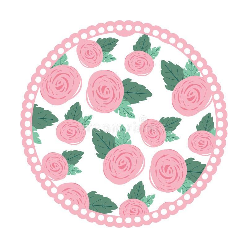 Witte achtergrond met kleurrijk cirkelkader met patroon van roze bloemen royalty-vrije illustratie