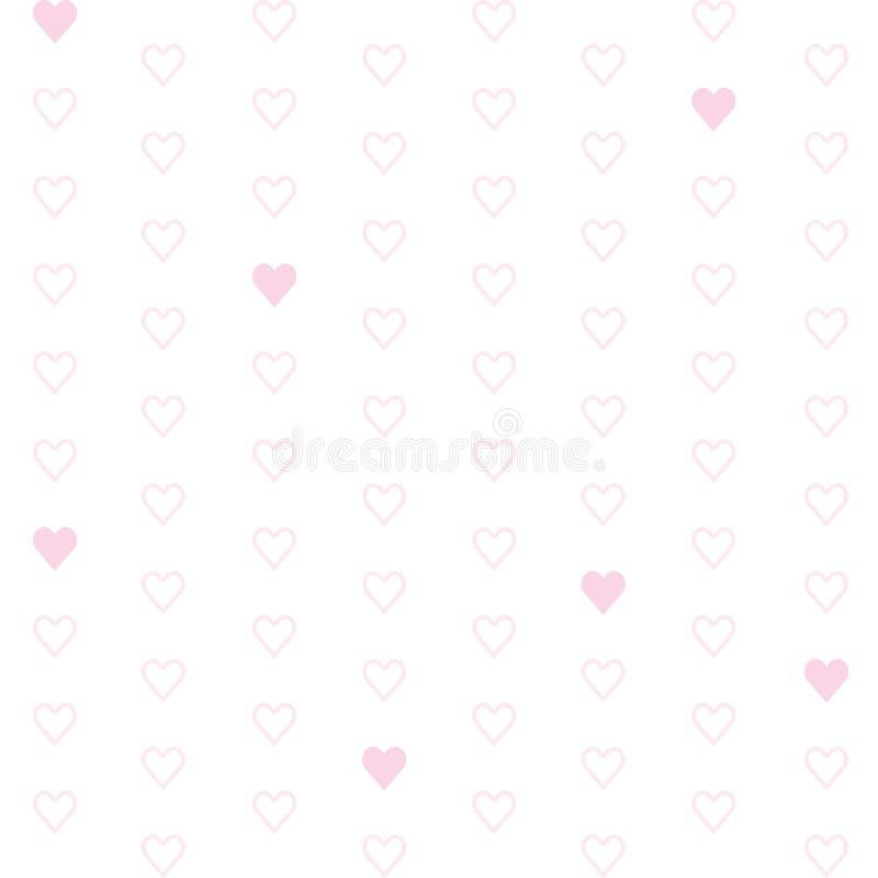 Witte achtergrond met roze harten royalty-vrije illustratie