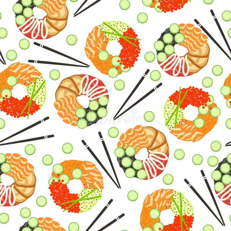 Witte achtergrond met sushi donuts en Chinese stokken en komkommer stock illustratie