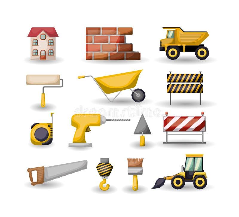Witte achtergrond met vastgestelde kleurrijke hulpmiddelen voor bouw royalty-vrije illustratie