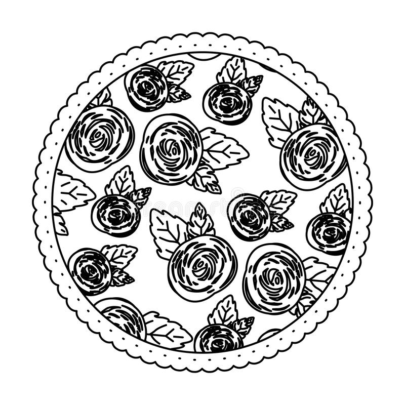 Witte achtergrond met zwart-wit cirkelkader met patroon van roze bloemen royalty-vrije illustratie