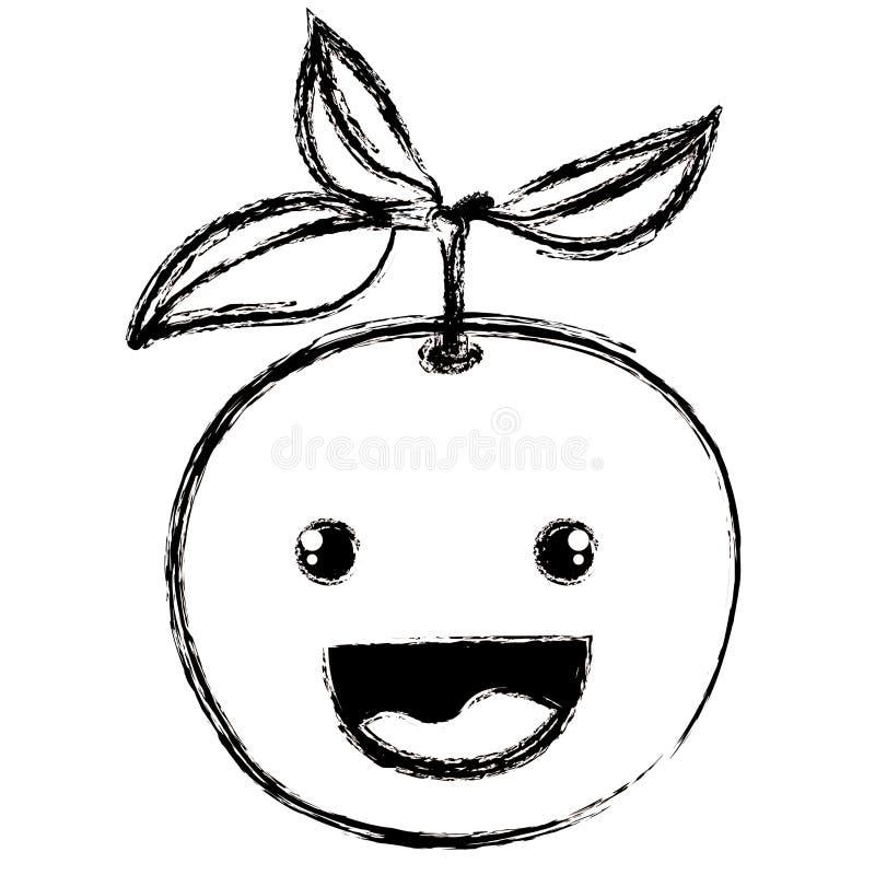 Witte achtergrond met zwart-wit vaag silhouet van het glimlachen van beeldverhaal oranje fruit royalty-vrije illustratie