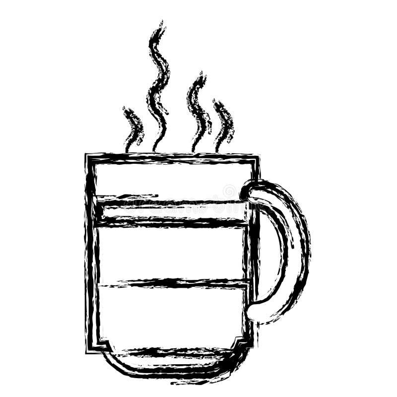 Witte achtergrond met zwart-wit vaag silhouet van hete koffiekop vector illustratie