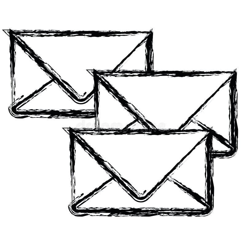 Witte achtergrond met zwart-wit vage reeks enveloppen van post royalty-vrije illustratie