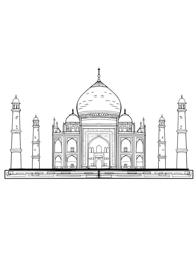 Witte achtergrond van de Taj de mahal illustratie vector illustratie
