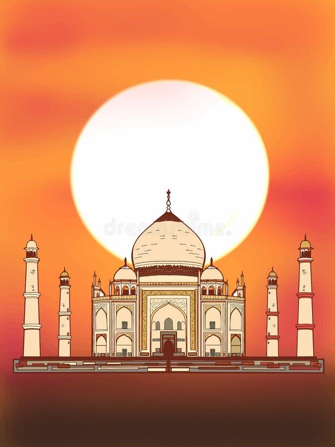 Witte achtergrond van de Taj de mahal illustratie stock illustratie