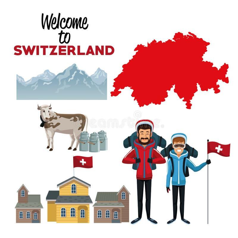 Witte achtergrond van onthaal aan Zwitserland met traditionele elementen van de mensen van het land en van skiërs vector illustratie