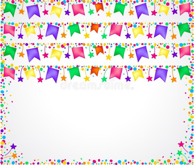 Witte achtergrond voor partijen met kleurrijke vlaggen op bovenkant en ruimte voor hieronder tekst stock illustratie