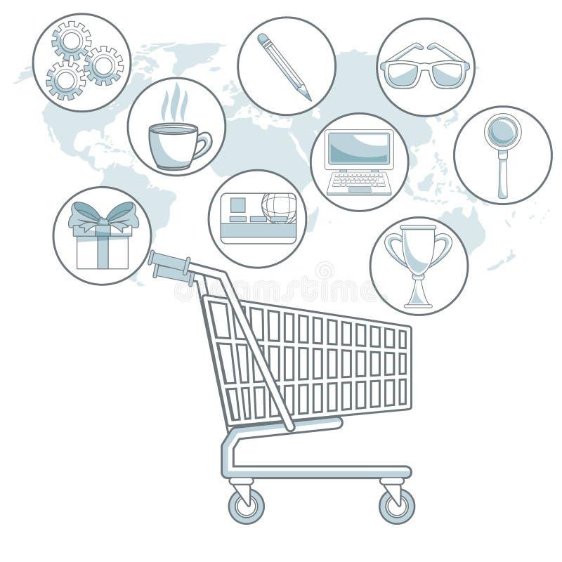 Witte achtergrondkaartwereld met kleurensecties van boodschappenwagentje met bellenpictogrammen digitale marketing royalty-vrije illustratie