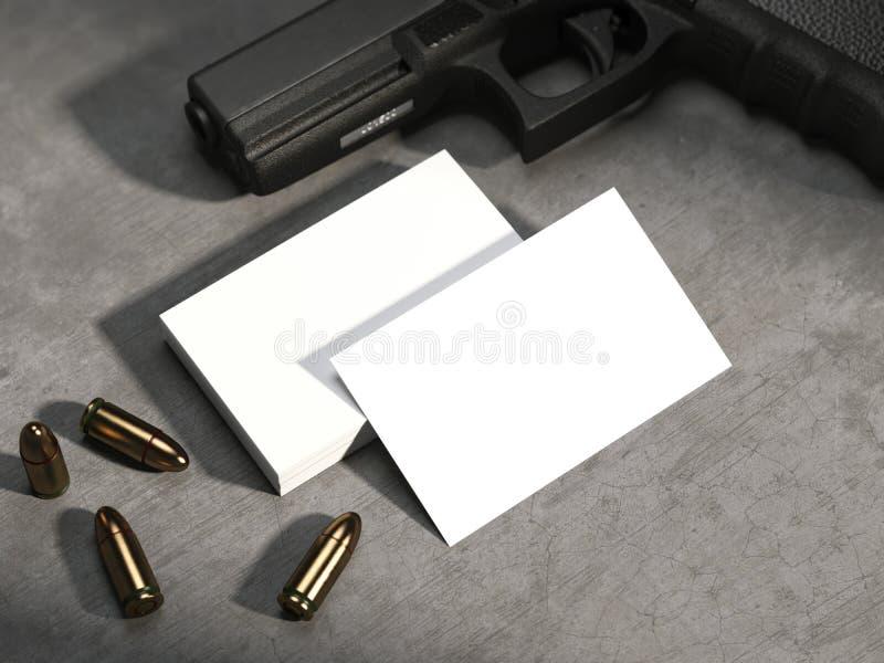 Witte adreskaartjes op concrete vloer met kanon en kogels rendering stock illustratie
