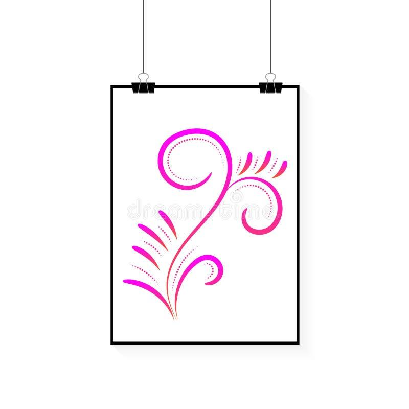 Witte affiche met bloemenontwerp vectordocument kadermodel Met paperclip vector illustratie