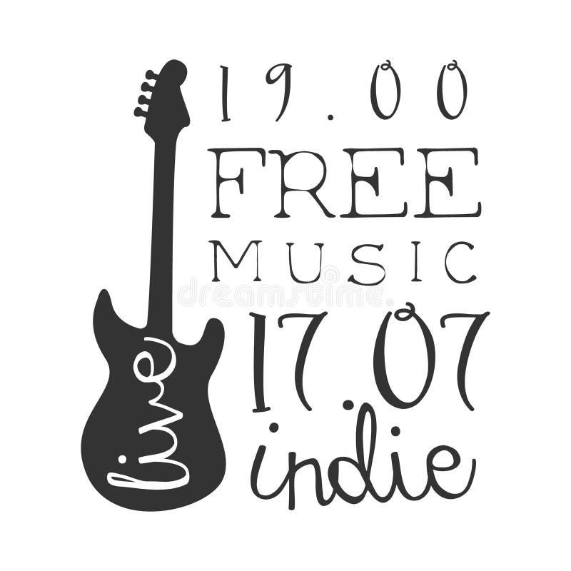 Witte Affiche van Indie de Vrije Live Music Concert Black And met Kalligrafische Teksten en Gitaar royalty-vrije illustratie