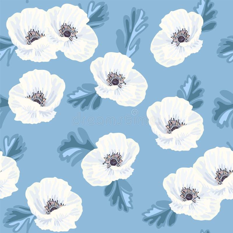 Witte anemonen op het blauwe naadloze patroon royalty-vrije illustratie