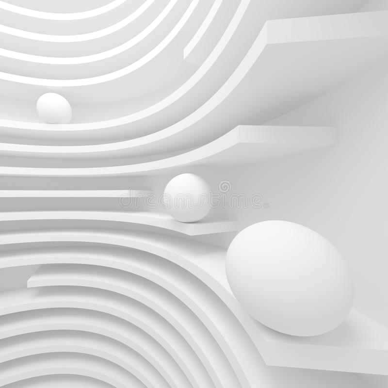 Witte architectuur cirkelachtergrond Modern de bouwontwerp stock illustratie