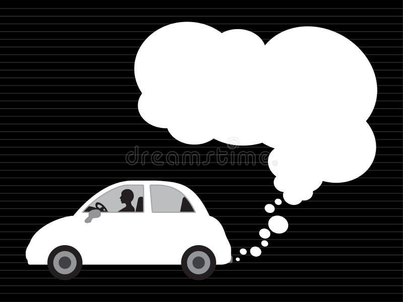 Witte auto en uitlaat vector illustratie