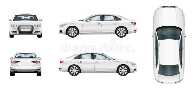 Witte auto Geïsoleerd sedanmalplaatje stock illustratie