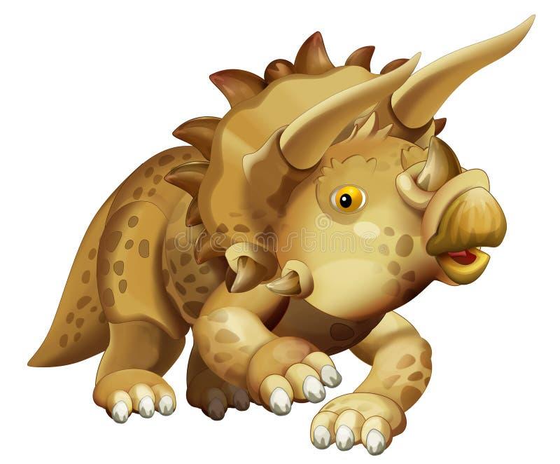 Witte backgrouns van de beeldverhaal gelukkige dinosaurus triceratops stock illustratie