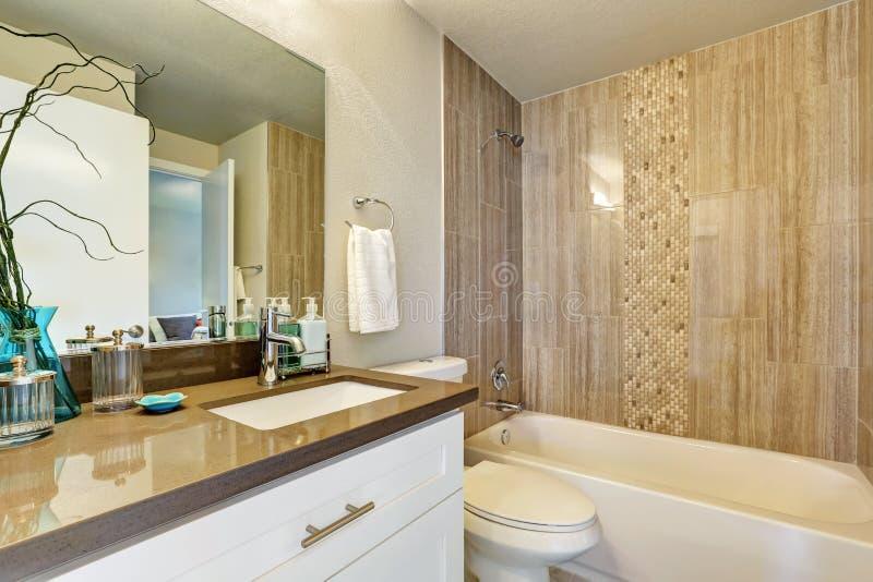 Witte badkamers met de grijze en bruine versiering van de tegelmuur stock fotografie