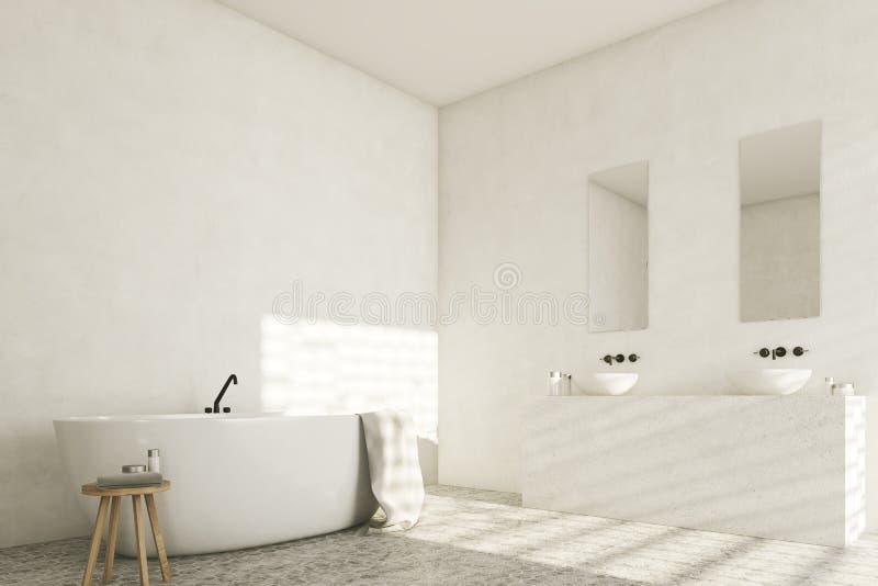 Witte badkamers met gootstenen, hoek royalty-vrije illustratie