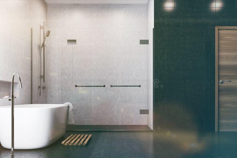 Witte Badkamers, Zwarte Tegels, Gestemde Douchekant Stock ...