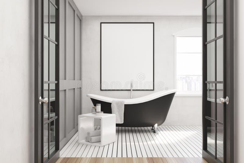 Witte badkamers, zwarte ton, affiche vector illustratie