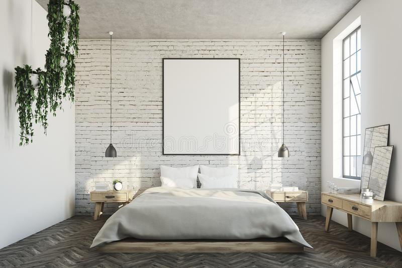 Witte baksteenslaapkamer, affiche stock illustratie