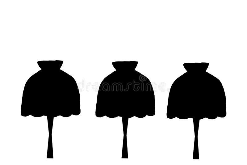 Witte bakstenen muur en drie zwarte, diverse vormen van lampen die van het plafond hangen vector illustratie