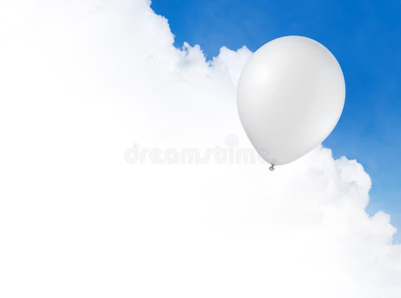 Witte ballon in de hemel stock afbeelding