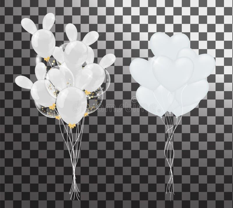 Witte ballons in de vorm van een hart op een achtergrond de vorm stock illustratie