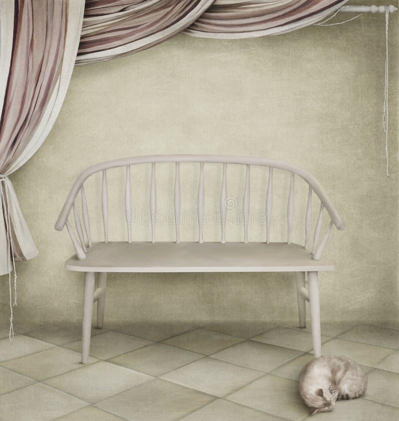Witte bank en een kat stock illustratie