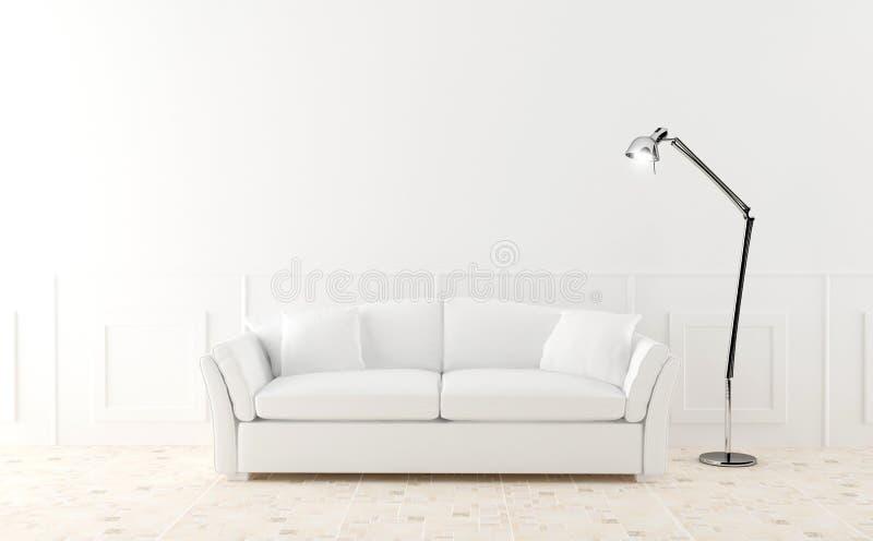 Witte bank in lichtgevende ruimte stock illustratie