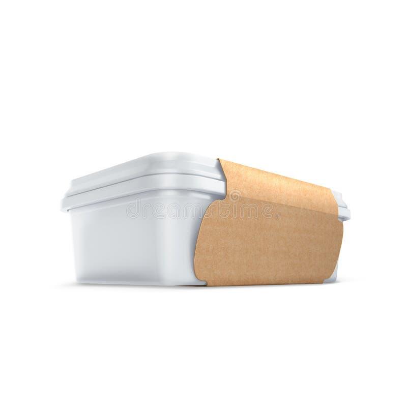 Witte bank met ecodekking voor voedselolie, mayonaise, margarine, kaas, roomijs, olijven, groenten in het zuur, zure room Voedsel royalty-vrije stock afbeeldingen