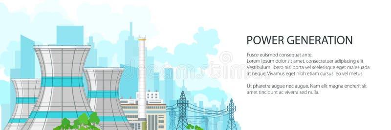 Witte Banner met Elektrische centrale royalty-vrije illustratie