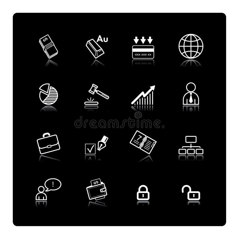 Witte bedrijfspictogrammen stock illustratie