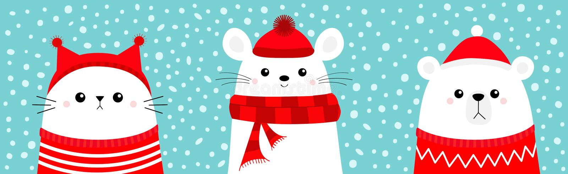 Witte bende Mouse Kat kop met rode kerstman met lelijk snoepgoed, hoed, sjaal Vrolijk kerstfeest Cute cartoon kawaii royalty-vrije illustratie