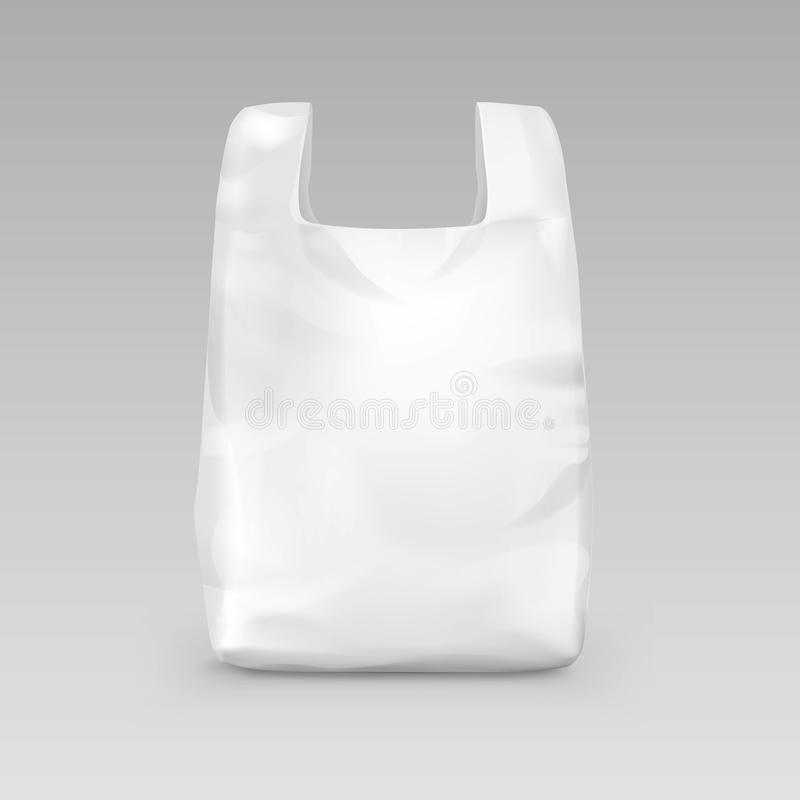 Witte Beschikbare Plastic het Winkelen Zak met Handvatten op Achtergrond vector illustratie