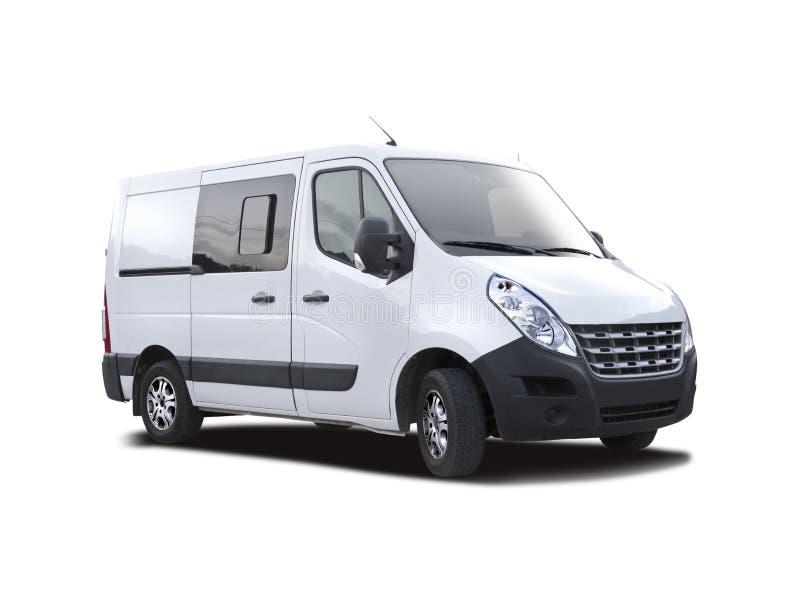 Witte bestelwagen Renault Master op wit royalty-vrije stock foto's