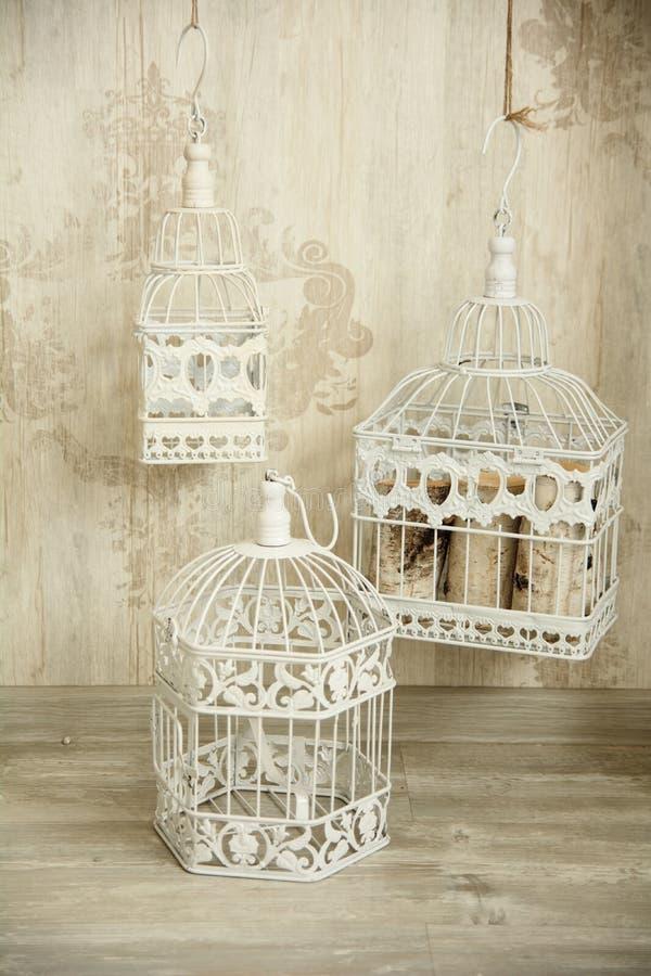 Witte birdcages in de binnenlandse muur met een ornament stock foto's